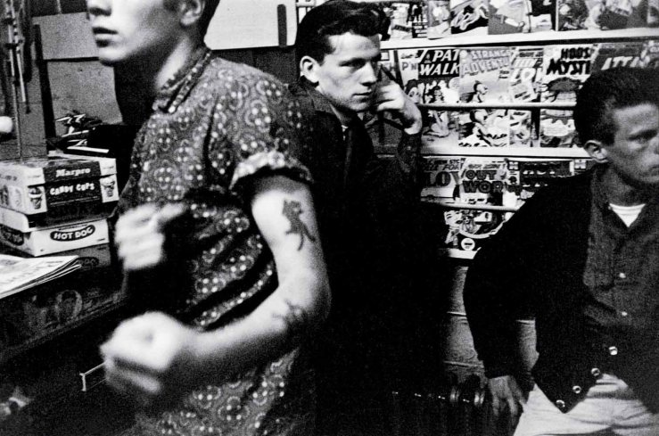 A photograph by Bruce Davidson, showing some of the members of the Brooklyn gang