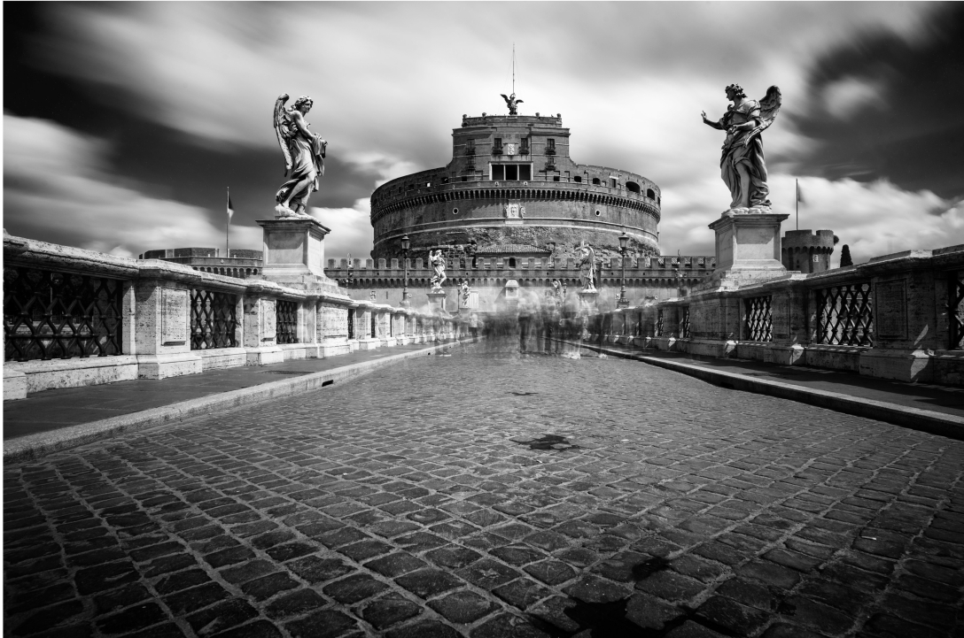 A black and white long exposure cityscape of Castel Sant' Angelo, Rome